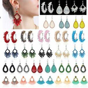 Fashion-Crystal-Tassel-Ear-Hook-Earrings-Drop-Dangle-Braided-Handmade-Jewelry