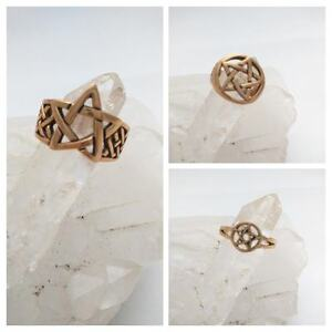 Assorted-Pentacle-Copper-Rings-Healing-Assorted-Sizes-Star-Pentagram-Pagan