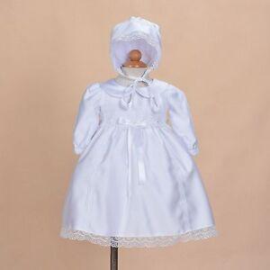 Cinda-Bebe-Satin-Blanc-Manches-Longues-Bapteme-Robe-Bonnet-0-3-6-9-12-Mois