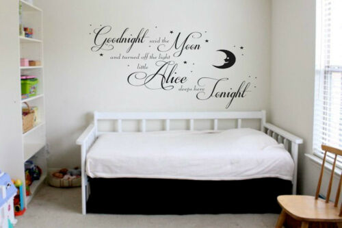 """Personalised vinyl Wall Art Sticker /""""Goodnight moon/"""" name 3 sizes 15 colours"""