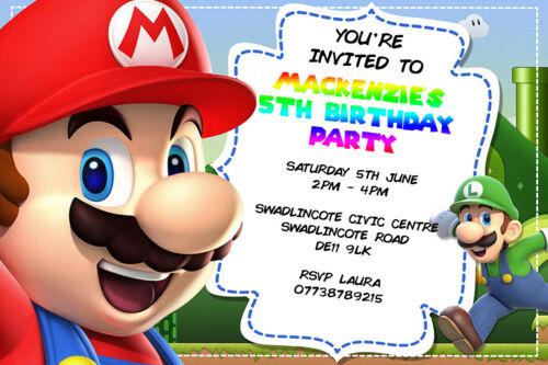Personalised Boy//Girl Super Mario Bros Birthday Party Invites inc envelopes M3