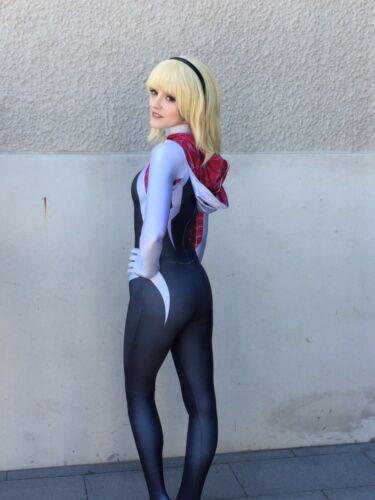 For Women Girls Spider Gwen Stacy Zentai Spiderman Cosplay Costume Full Bodysuit