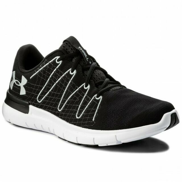 half off ee015 6f18c Under Armour Thrill 3 Mens Black Cushioned Running Sports Shoes Trainers UK  11