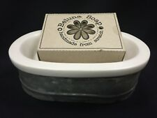 "Soap Dish White Ceramic and Metal Vintage Farmhouse 6 1//4/"" or Trinket Dish"