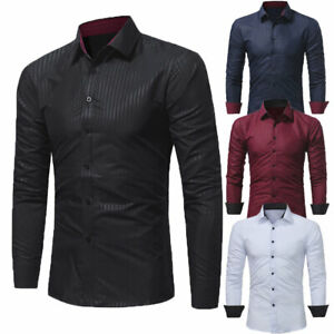 Men-039-s-Luxury-Shirt-Slim-Business-Formal-Fit-Dress-Shirts-Casual-Long-Sleeve-Tops