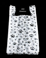 100 Cat Or Dog Paw Print Plastic T-shirt Bags 22 L X 12 W X 7 Gusset