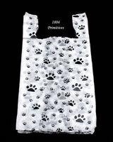 50 Cat Or Dog Paw Print Plastic T-shirt Bags 22 L X 12 W X 7 Gusset