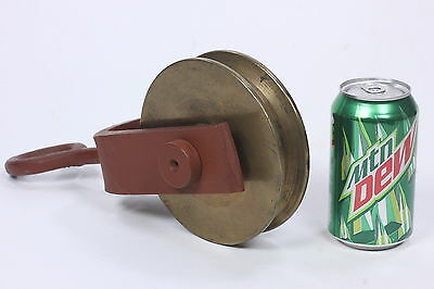 "Huge 6"" Diameter Brass Pulley In Painted Iron Housing Industrial Hoist"