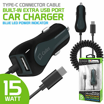 iPad Pro 12.9-inch Dual USB Car Charger with Type-C Cable Compatible for Apple iPad Pro 11-inch 2.1Amp Cellet 10 Watt