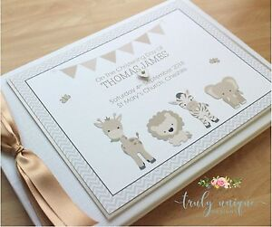 Details Zu Little Zoo Personalised Christeningbaptism Guest Book Photo Album Boy Or Girl