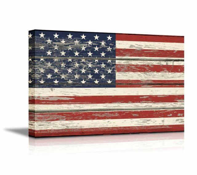 Framed Vintage Wood USA Flag American Wall Art Picture Canvas Prints ...