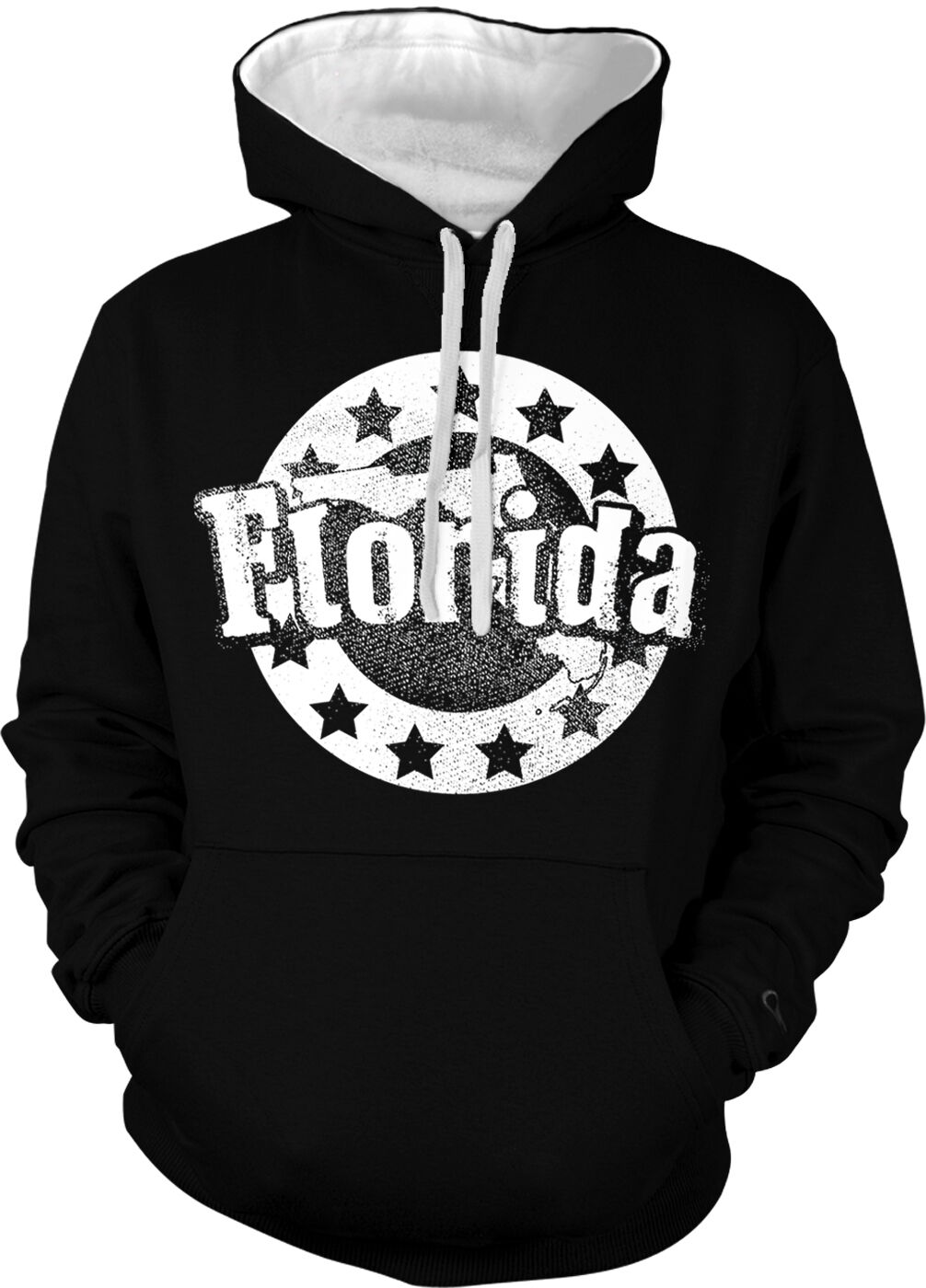 Florida US State Floridian Outline Sunshine From Born Two Tone Hoodie Sweatshirt