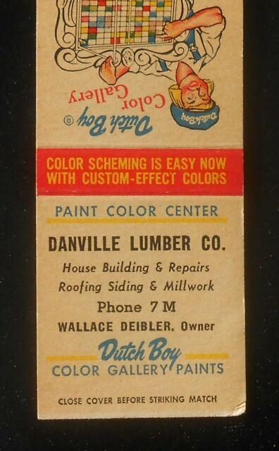 1950s Dutch Boy Color Gallery Paints Danville Lumber Co