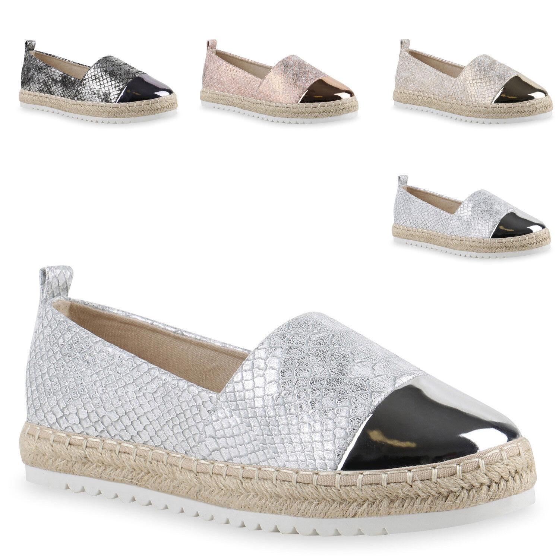 Damen Slipper Metallic Bast Espadrilles Lack Flats  Zapatos  Bast Metallic 817220 Trendy 119989
