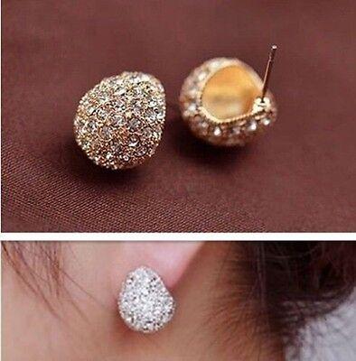 New Fashion Elegant Silver Plated Clear Crystal Rhinestone Stud Earrings