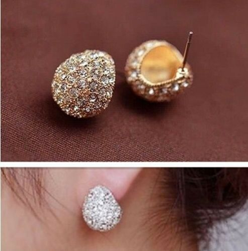 New Fashion Elegant Silver Plated Clear Crystal Rhinestone Stud Earrings
