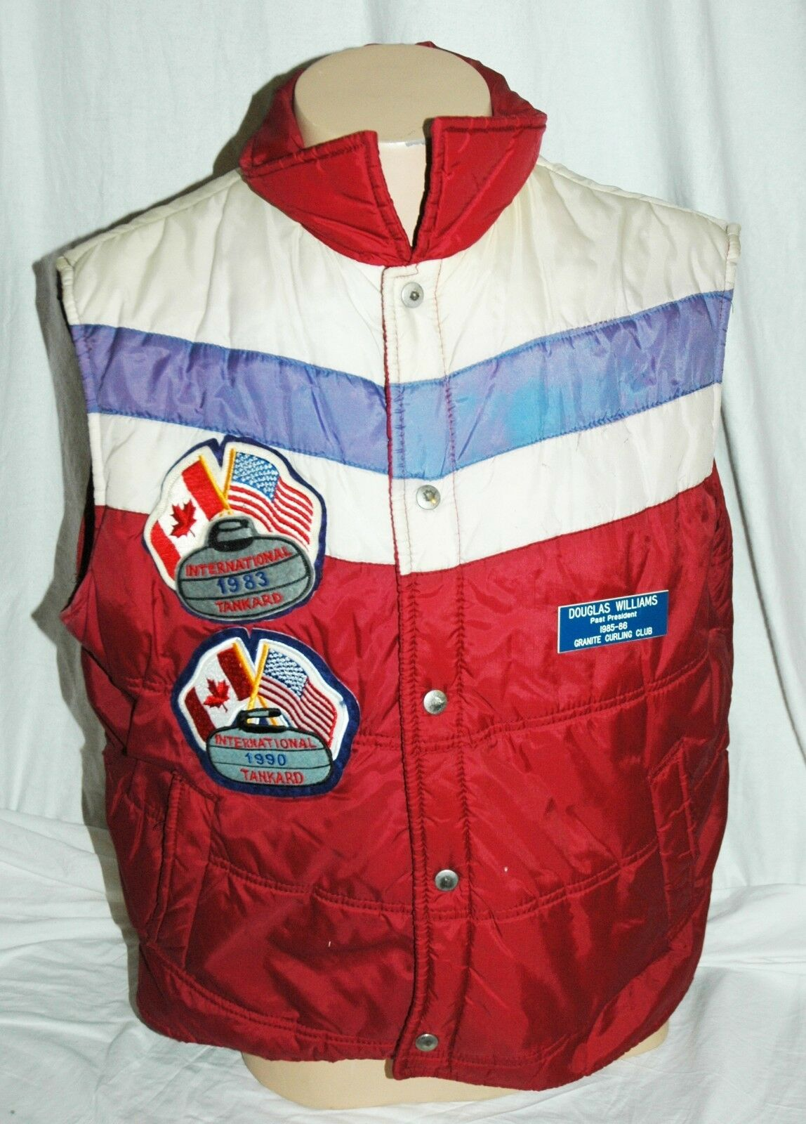 Vintage Sigallo International Ice Curling Vest 1983 1990 From Granite Club Pres