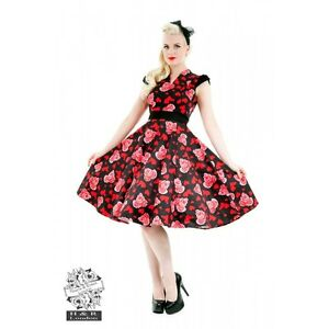 Hearts-amp-Roses-Red-Black-Long-Dress-Rockabilly-Pinup-50s-Vintage-Swing-Love