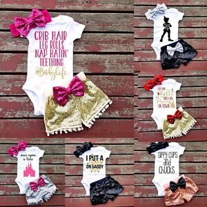Adorable Newborn Baby Girls Outfit Clothes Romper Jumpsuit Bodysuit+Pants Set