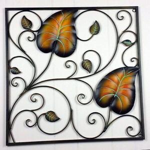 2-Leaf-Frame-Vine-Plant-Wrought-Iron-Wall-Decoration-Metal-Art