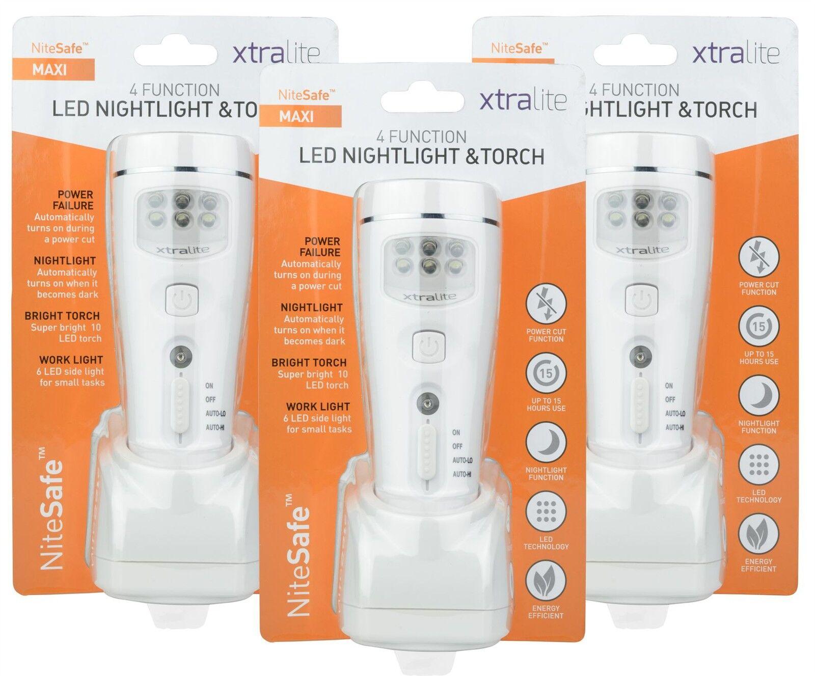 Lot de 3 Xtralite lumière NiteSafe Maxi rechargeable lumière Xtralite de nuit avec 4 fonctions DEL Torche 1138c8