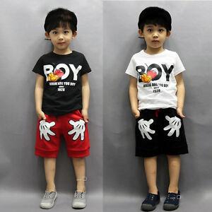 8ea8513ac0f7 Mickey Toddler Baby Boys Summer Short Sleeve Tops T-shirt +Shorts ...