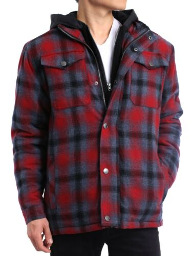 Mens Flannel Jacket Quilted Lined Shirt Hooded Winter Lumberjack Plaid Casual