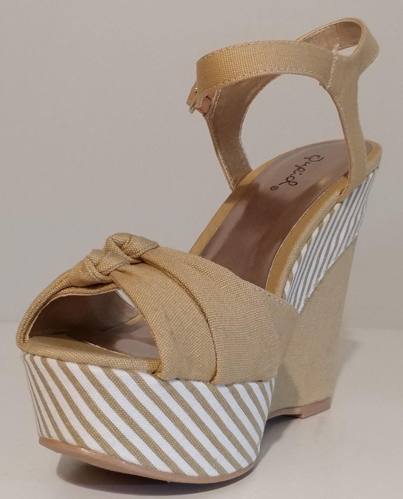 NEW Qupid Tan Canvas Wedge Sandals Sandals Sandals 5  Heels Größe 8.5M US 38.5M EUR 2f8abe