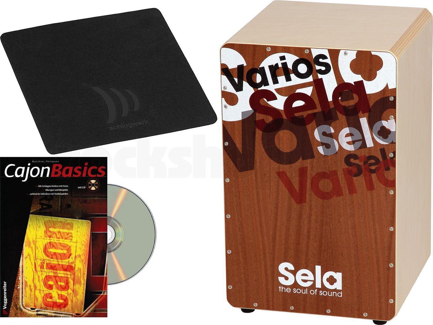 Sela SE 0 13 Varios Snare Cajon mit Schlagwerk Sitz Pad SP 20 + Lern Buch + CD