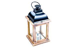 Lanterne en bois 13x13x26 cm lanterne Lampe de jardin Chandelier ...