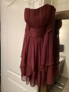 2ce48dfc95 Davids Bridal Bridesmaid Dress Size 12 Wine Color Strapless Chiffon ...