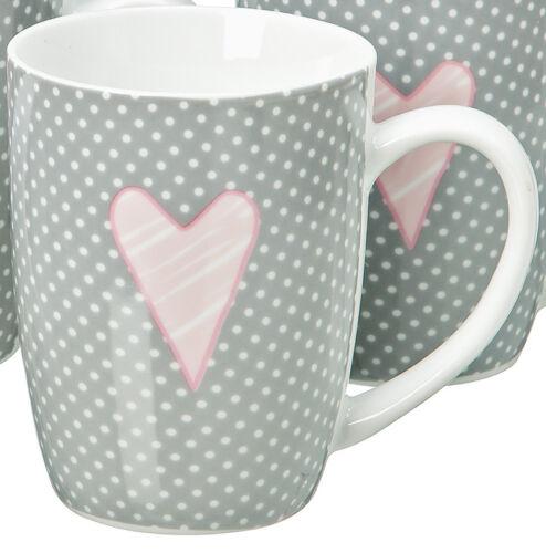 Tasse Avec Henkel Lay Coeur Points porcelaine 390 ml Individuellement Ou en 4er Set