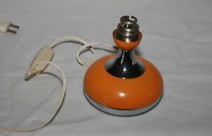 Vintage 70 S Pied De Lampe Boule En Metal Orange Et Inox Vendu Sans