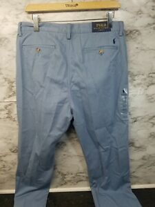 Polo Ralph Lauren Flat Front Chino Pants Mens 33 x 30 Blue Stretch Straight NWT