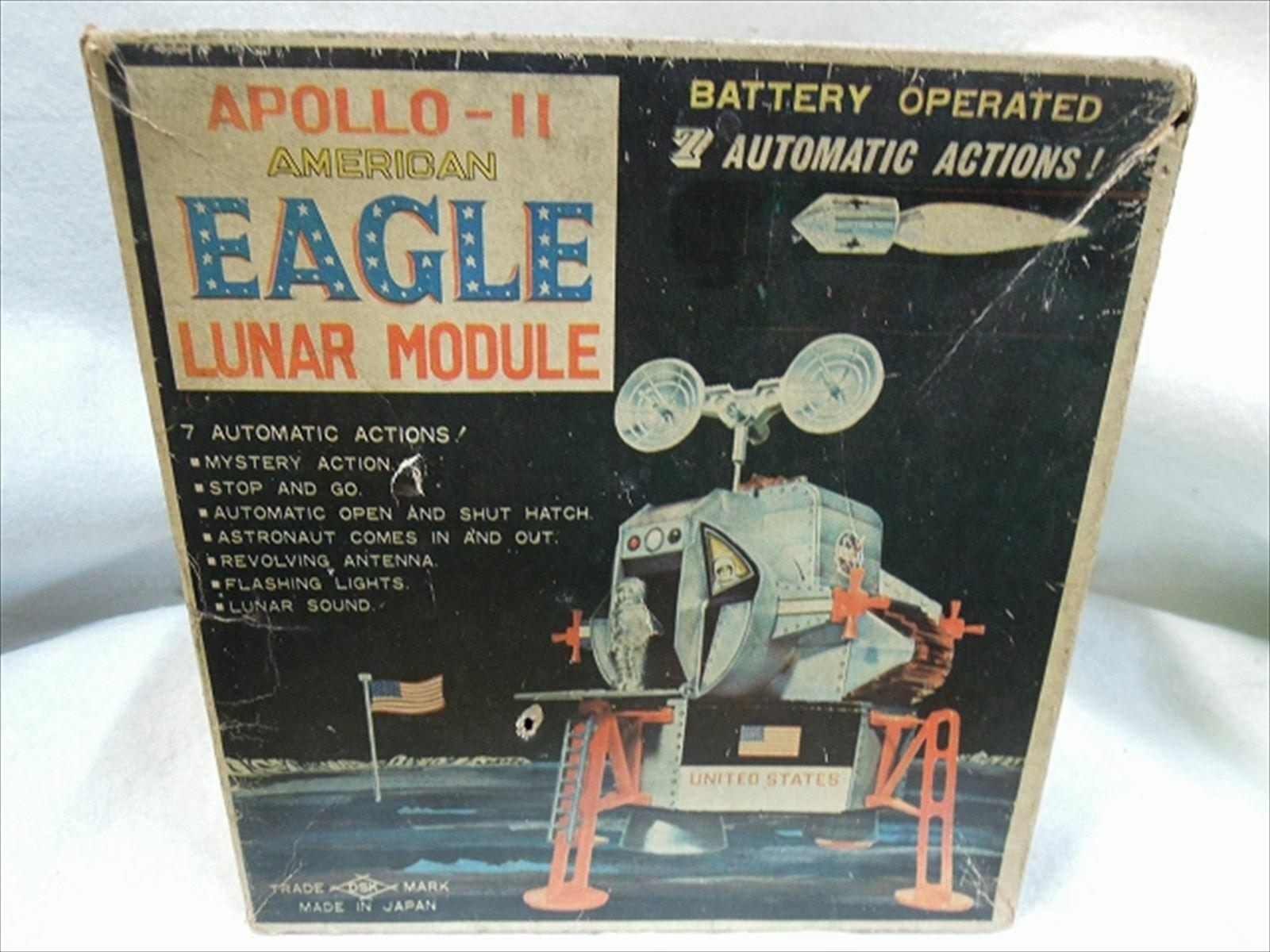 Apollo Adler Lunar Modul Yonezawa mit Schachtel Mond Lander Vintage Dose Toys