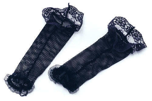 Ladies Black Lace Fishnet Gloves Goth Emo Witch French Maid Fancy Dress