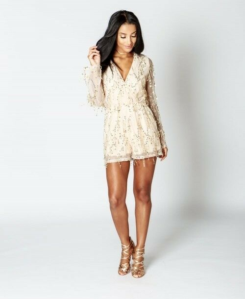 Sequin Fringe Wrap Front Long Sleeve Formal Casual Party Playsuit
