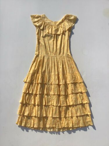 1930s Yellow floral Print Ruffle Collar And Skirt