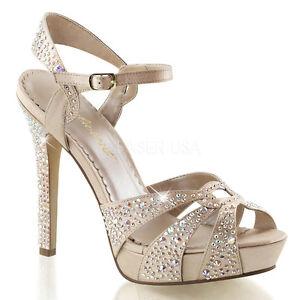 Details About Pleaser Sexy Sandals 4 3 4 High Heels Platform Champagne Satin Rhinestone Shoes