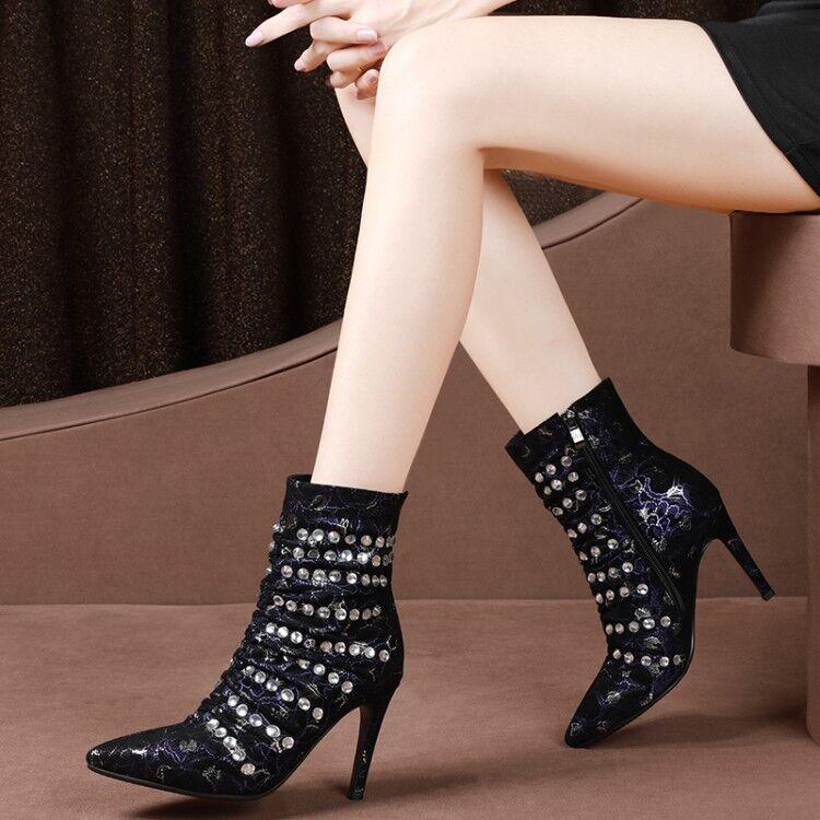 Plus Size Women Leather Pointy Toe Rivet Stilettos Rhinestone Zip Ankle Boot