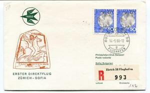 Ffc 1966 Tabso First Direct Flight Zurich Sofia Bulgarien Registered Flughagen