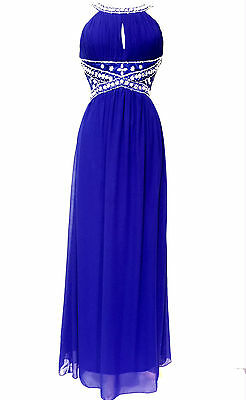 Maxi Dress Gem Sequin Embellished Bridesmaid Evening Party Prom Draped Gown ball