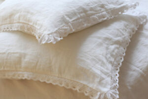A-PAIR-2-pcs-Shabby-pre-washed-flax-Linen-pillow-case-sham-crochet-lace-white