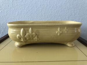 Vintage McCoy Fleur De Les Ceramic Yellow Flower Planter- MCM