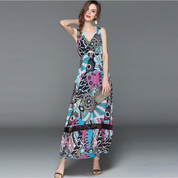 Elegante vestito abito lungo coloreato coloreato coloreato azzurro scampanato slim morbido 3563 c0ecb8