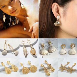 Women-Earrings-Boho-Pearl-Shell-Eardrop-Dangle-Earring-Geometric-Hoop-Jewelry