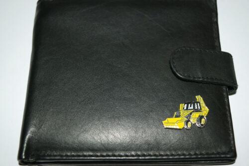 Jcb Digger Cartera de Cuero Suave Negro/Marrón/Bronceado En Caja De Regalo Amarillo Esmalte Emblema