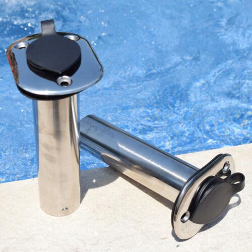 Stainless Steel 90Degree Angled I.D 1-1//2/'/' Marine Boat Fishing Rod Holder 2x