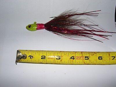 4   Yellow Ultra Minnow Lime Green Brown /& Hot Pink Bucktail jigs