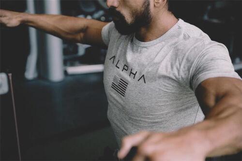 ALPHA FLAG MENS GYM T SHIRT TOP WEIGHTLIFTING MMA CROSS FIT Short Sleeve Shirts